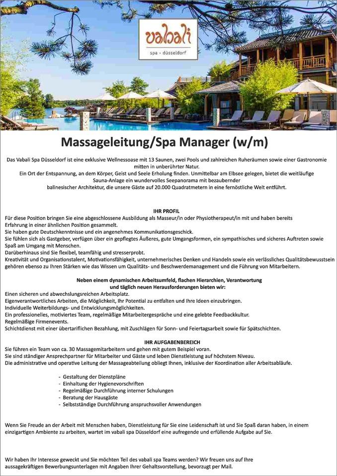 Massageleitung/Spa Manager (w/m) - Aachen Stellenangebote ...