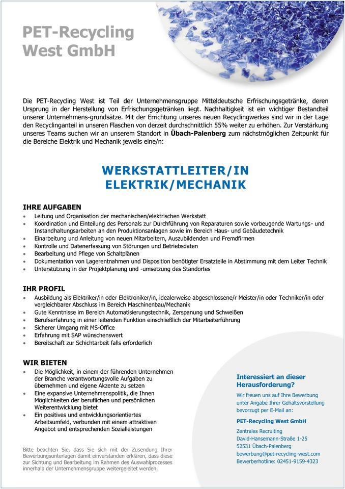 WERKSTATTLEITER/IN ELEKTRIK/MECHANIK - Aachen Stellenangebote ...